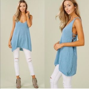 CHRISSIE Lace up Tank Top - BLUE